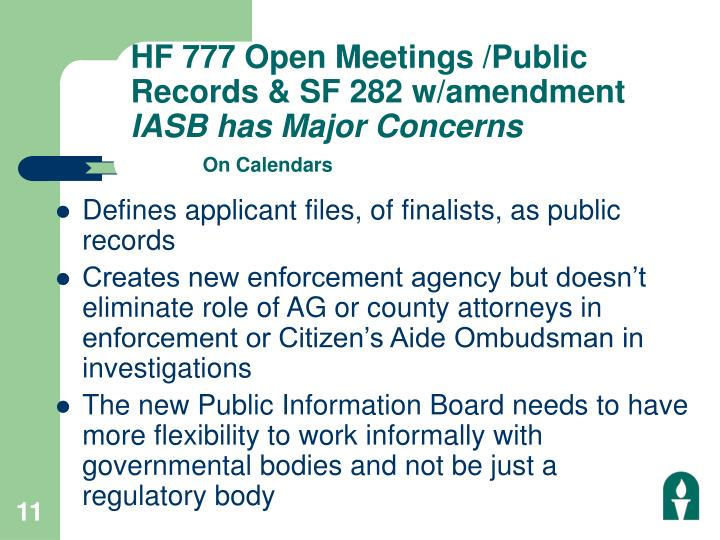 HF 777 Open Meetings /Public Records & SF 282 w/amendment