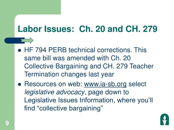 Labor Issues:  Ch. 20 and CH. 279