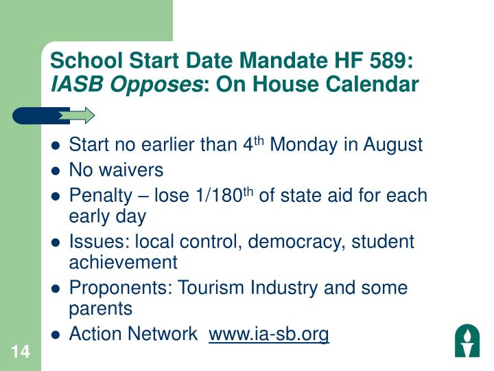 School Start Date Mandate HF 589: