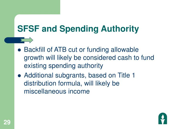SFSF and Spending Authority