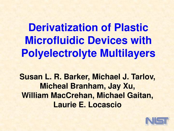 derivatization of plastic microfluidic devices with polyelectrolyte multilayers n.