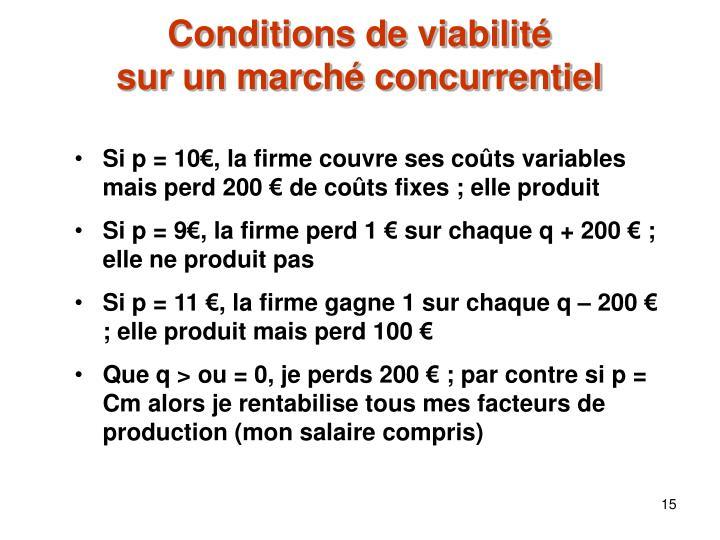 Conditions de viabilité