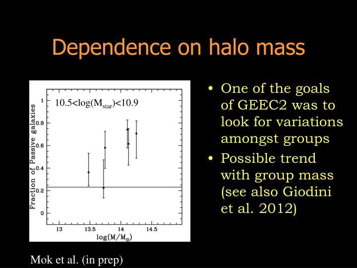 Dependence on halo mass