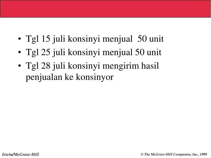 Tgl 15 juli konsinyi menjual  50 unit