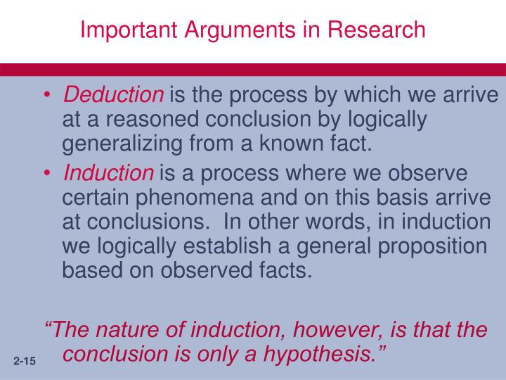 Important Arguments in Research