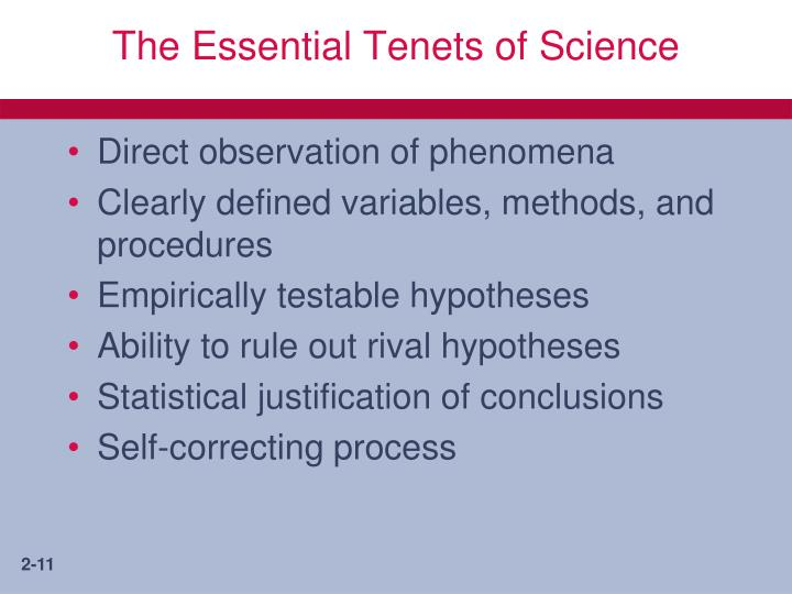 The Essential Tenets of Science
