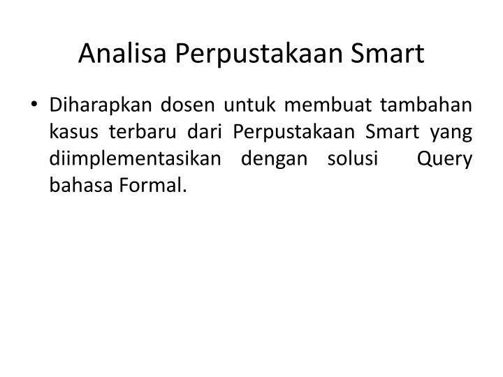Analisa Perpustakaan Smart