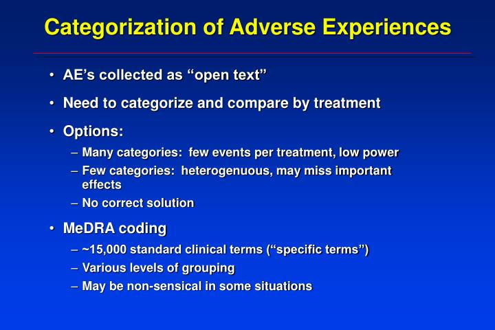 Categorization of Adverse Experiences