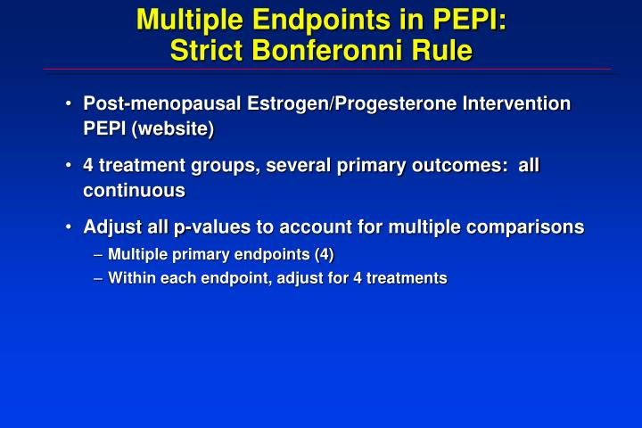 Multiple Endpoints in PEPI: