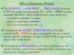 miscellaneous points