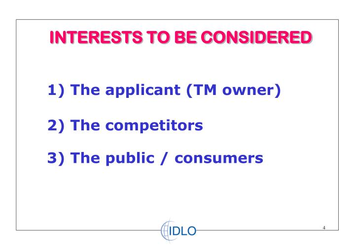 INTERESTS TO BE CONSIDERED