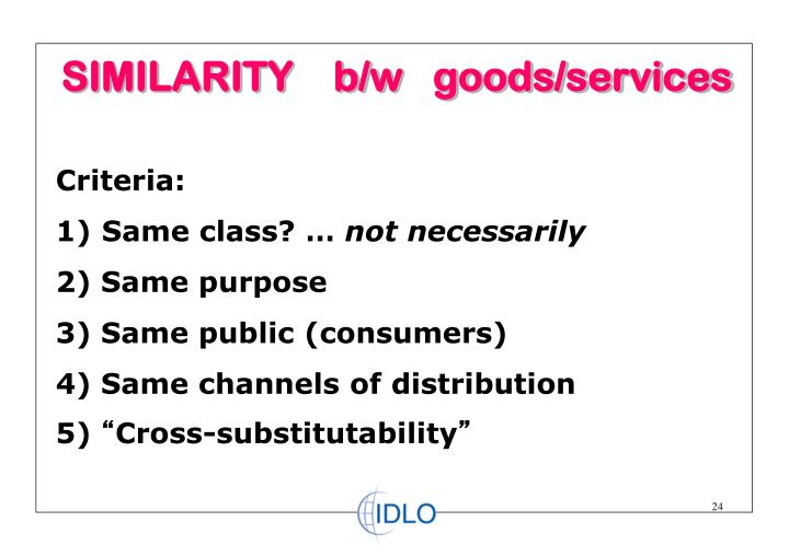 SIMILARITY    b/w   goods/services