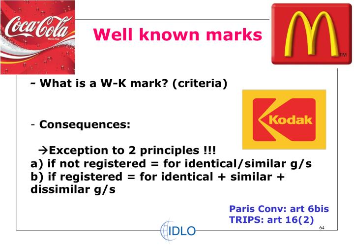 Well known marks