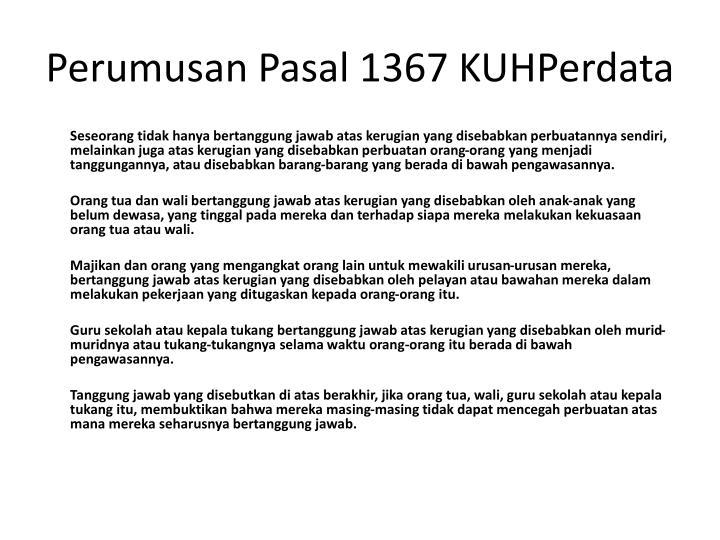 Perumusan Pasal 1367 KUHPerdata
