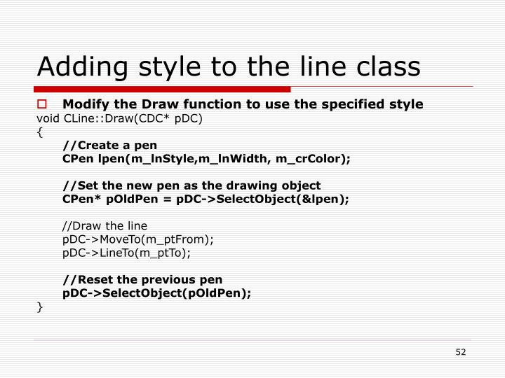 Adding style to the line class