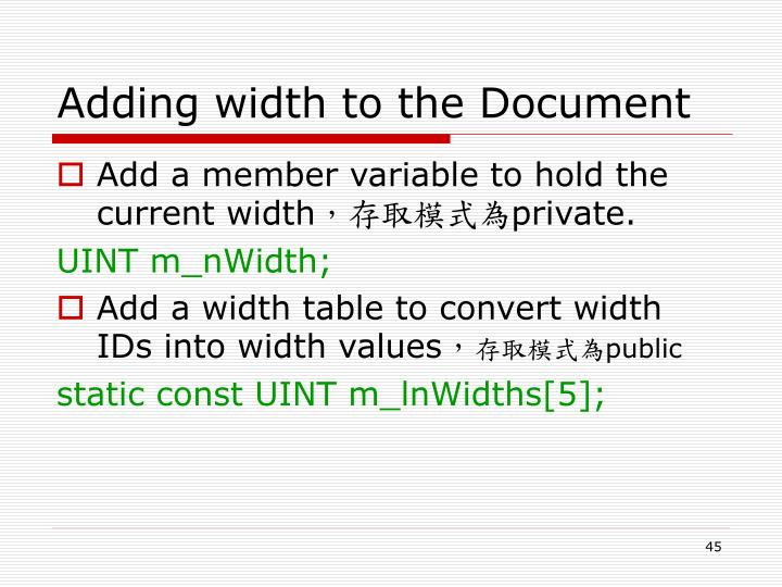 Adding width to the Document