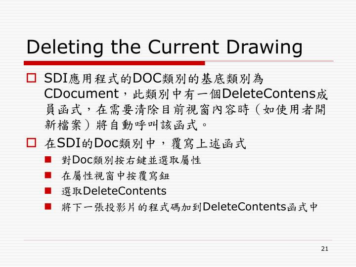 Deleting the Current Drawing