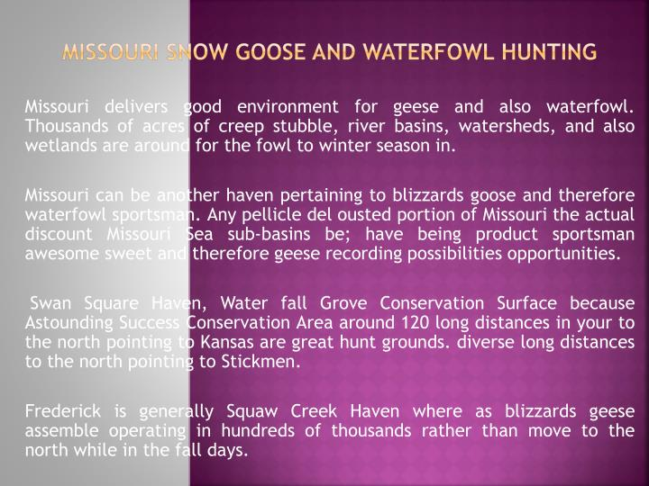 missouri snow goose and waterfowl hunting n.