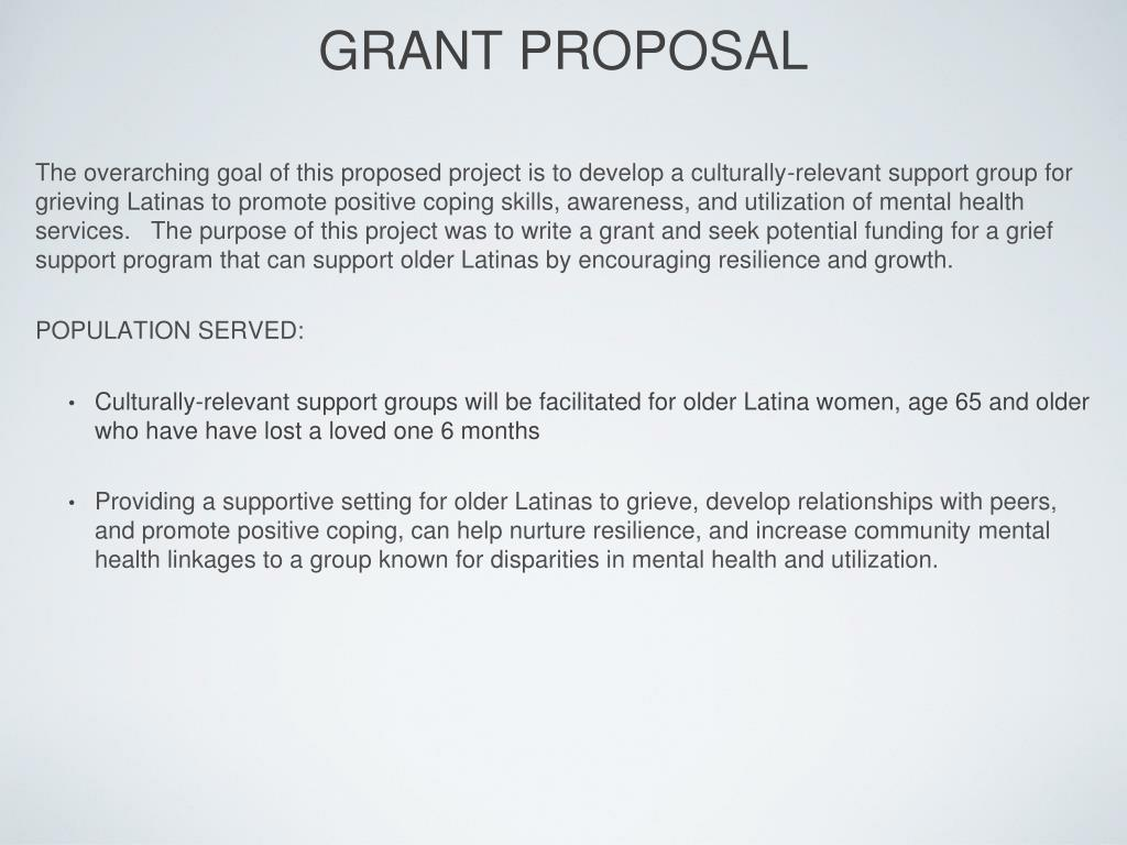 PPT - A GRIEF SUPPORT GROUP FOR OLDER LATINAS: A GRANT