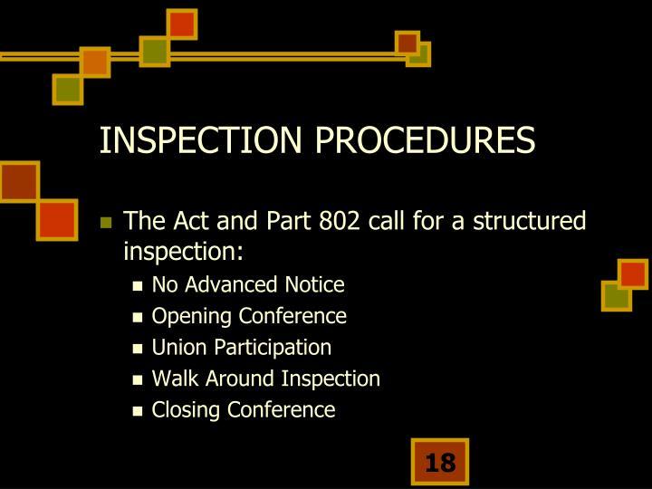 INSPECTION PROCEDURES