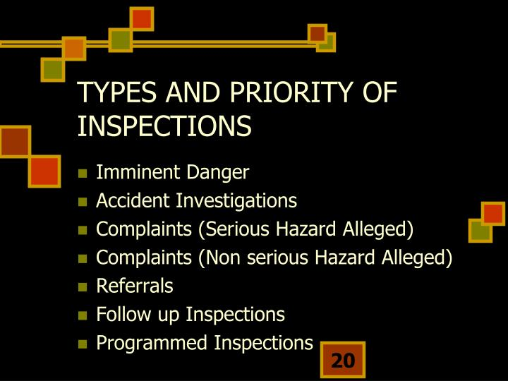 TYPES AND PRIORITY OF INSPECTIONS