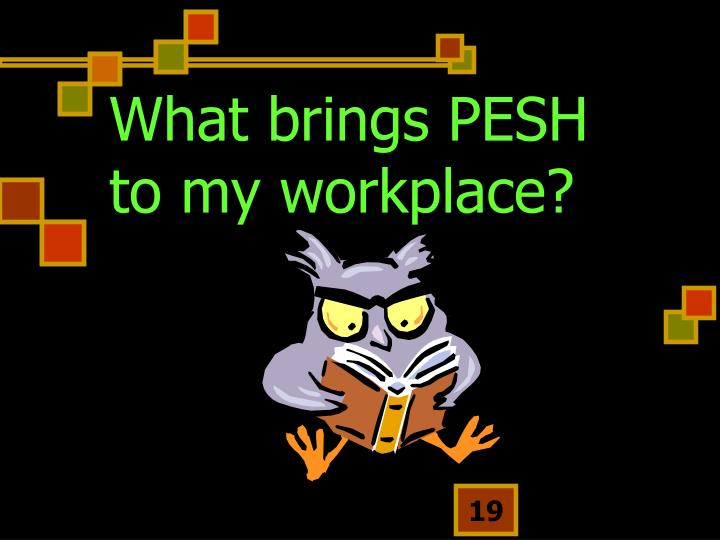 What brings PESH to my workplace?