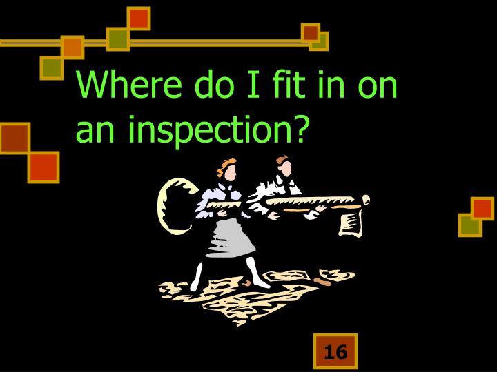 Where do I fit in on an inspection?