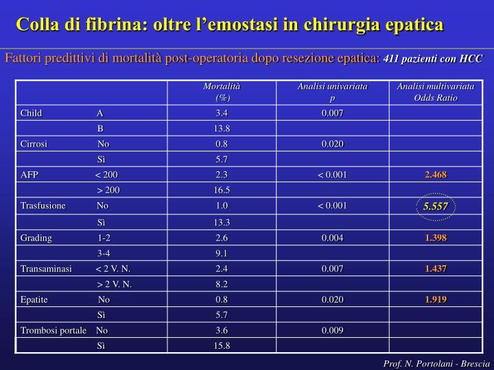 Colla di fibrina: oltre l'emostasi in chirurgia epatica
