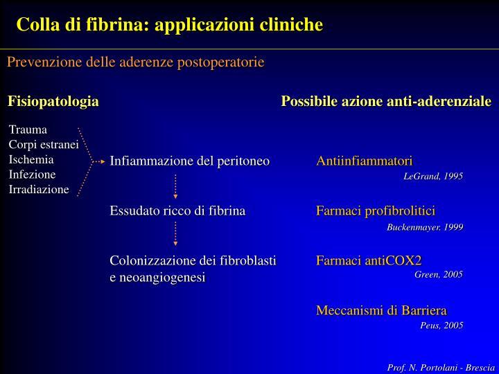 Colla di fibrina: applicazioni cliniche