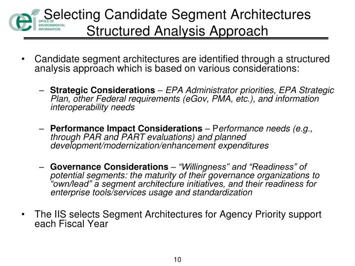 Selecting Candidate Segment Architectures