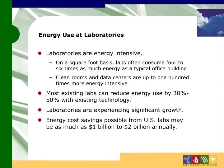 Energy use at laboratories