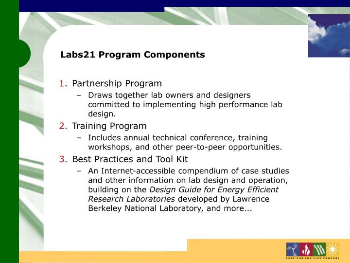 Labs21 Program Components