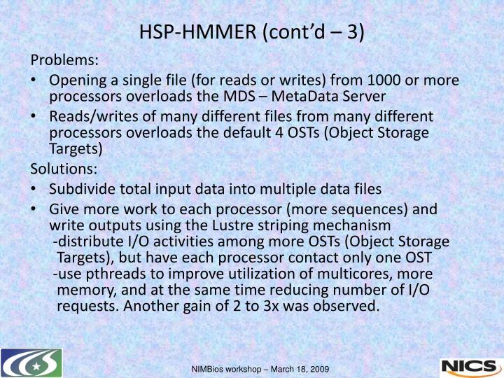 HSP-HMMER (cont'd – 3)