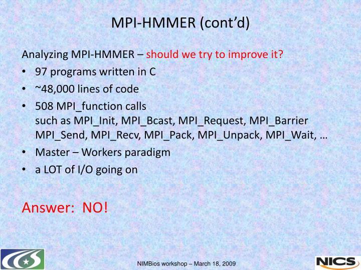 Analyzing MPI-HMMER –