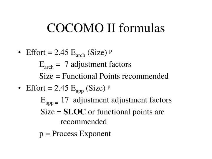 Cocomo ii formulas