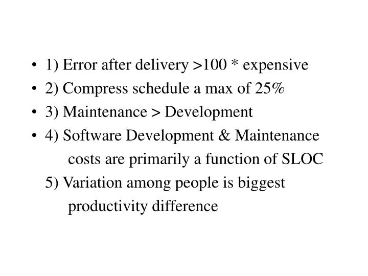 1) Error after delivery >100 * expensive