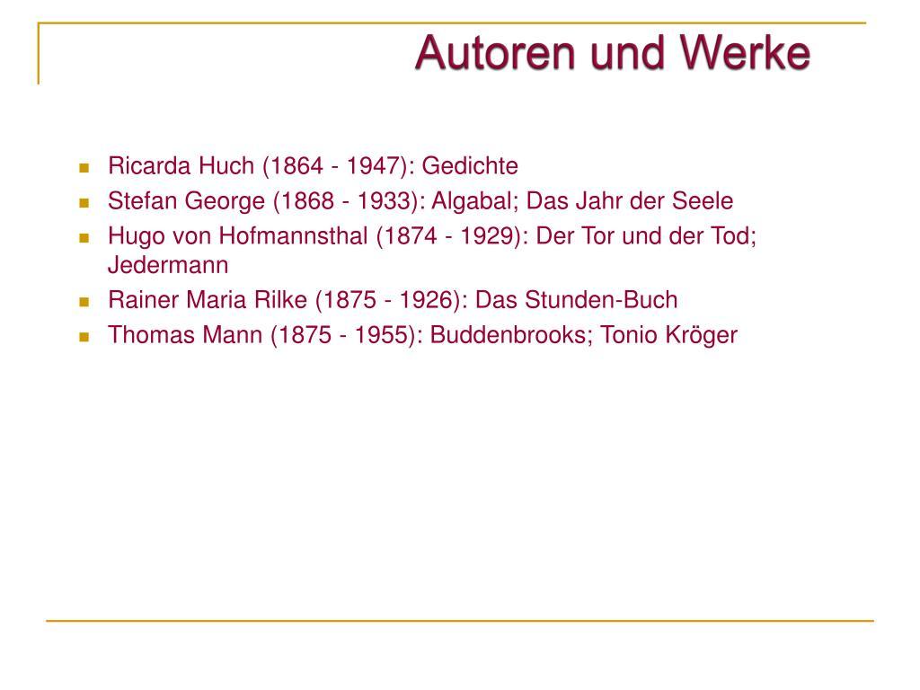 Ppt Deutsche Literatur 1890 1920 Powerpoint Presentation