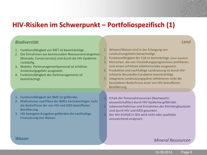 HIV-Risiken im Schwerpunkt – Portfoliospezifisch (1)