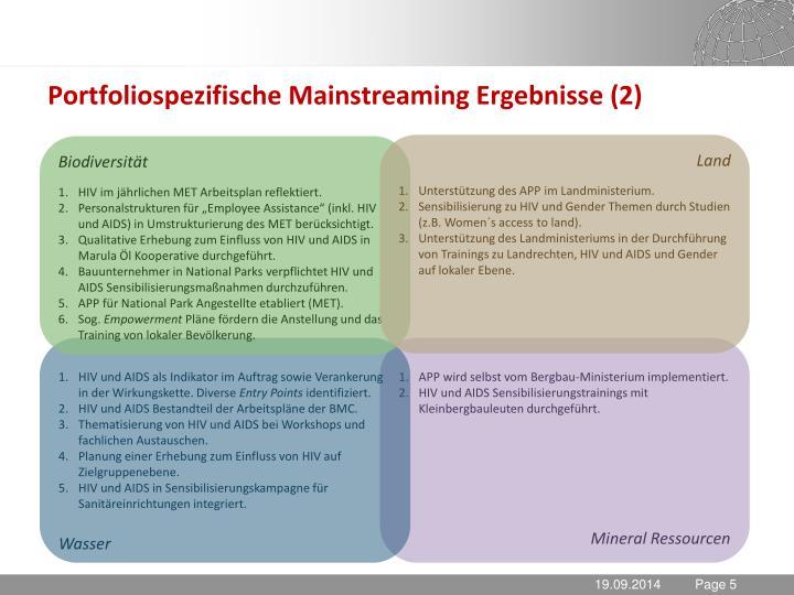 Portfoliospezifische Mainstreaming Ergebnisse (2)