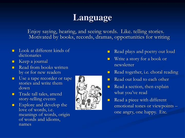 Enjoy saying, hearing, and seeing words.  Like. telling stories.  Motivated by books, records, dramas, opportunities for writing