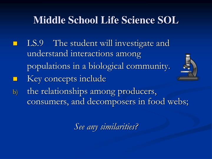 Middle School Life Science SOL
