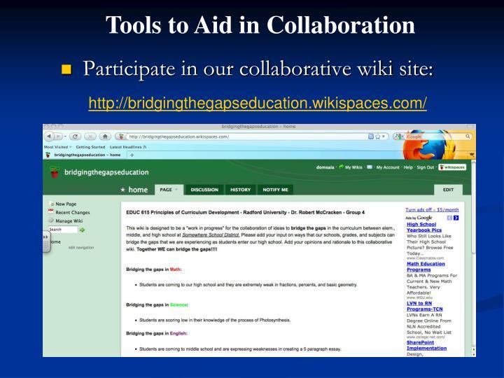 Participate in our collaborative wiki site: