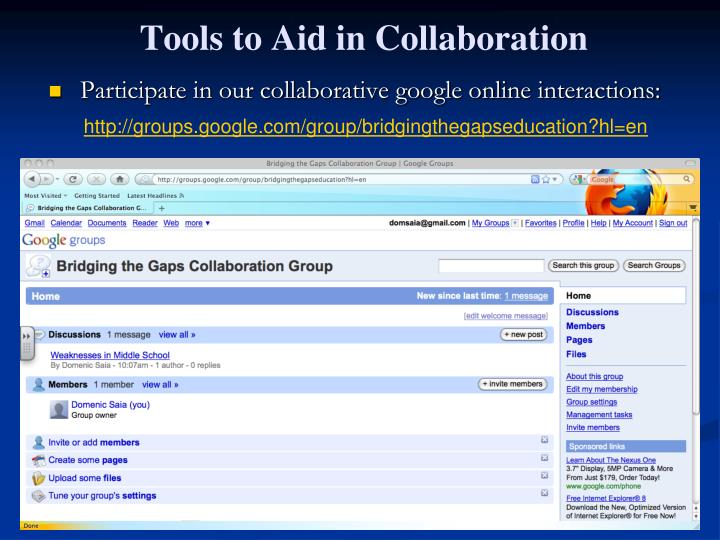 Participate in our collaborative google online interactions: