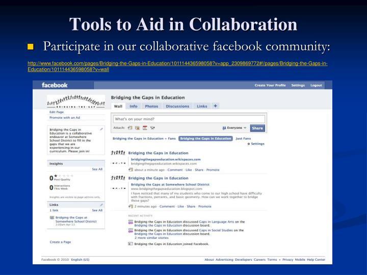 Participate in our collaborative facebook community: