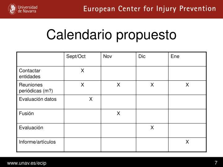Calendario propuesto