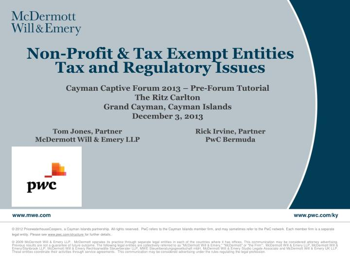 non profit tax exempt entities tax and regulatory issues n.