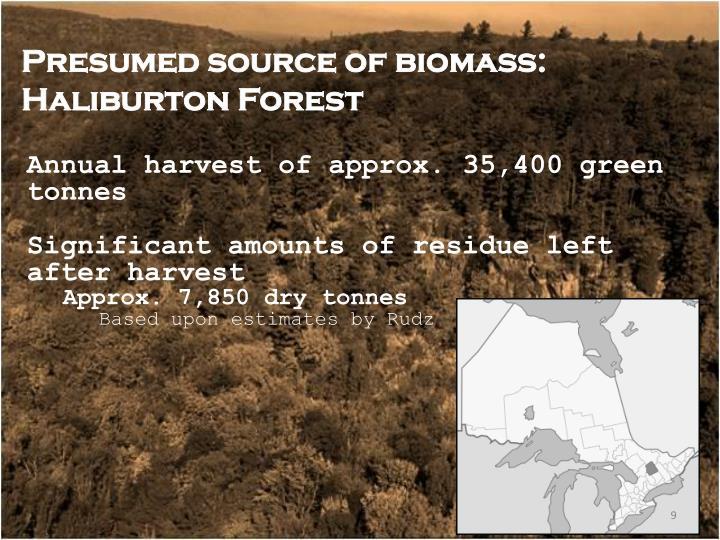 Presumed source of biomass:  Haliburton Forest