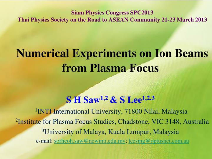 siam physics congress spc2013 thai physics society on the road to asean community 21 23 march 2013 n.