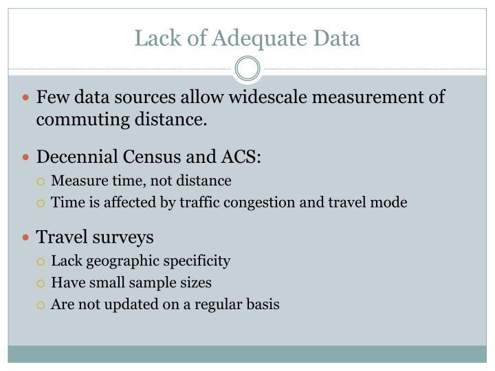 Lack of Adequate Data