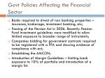 govt policies affecting the financial sector